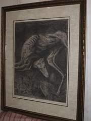 Д.Плавинский,  «Собака в траве»,  бумага офорт,  67х51см. СССР,  кон.1960х