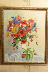 картина букет с цветами и ягодами
