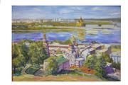 картина вид на нижегородские соборы