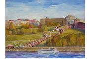 Картина вид на чкаловскую лестницу с волги