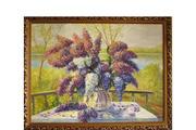 Картина сирень в саду с видом на реку